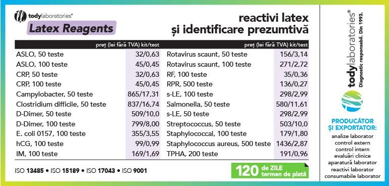 oferta reactivi LATEX si identificare prezumtiva