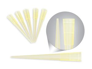0-200 microliters | Tips | yellow | beveled | without collar | compatible pipette | Eppendorf | Gilson | Socorex | Nichiryo | laboratory disposables | price | cost
