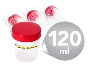 Containers | urine | 120 ml | sterile | red screw cap | Laboratory Disposables | Universales | Polypropylene