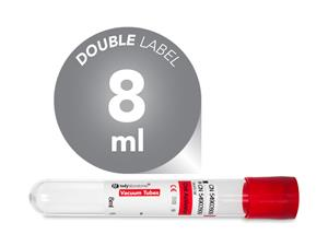 8 ml | plastic | 13x100 mm | red cap | silicone coated | Chemistry | Immunology | Blood Collection | Vacuum Tubes | price | cost | Clinical Chemistry | Immunology